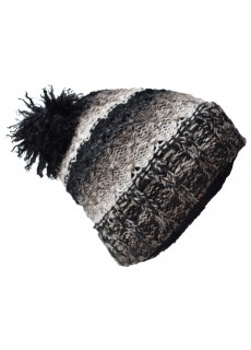 Folded Pom Pom Black Grey Mix Hat