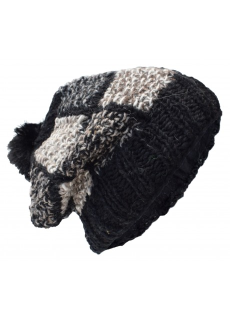 Patch Pom Pom Black Natural Woolly Hat