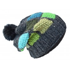 Patch Pom Pom Charcoal Puzzle Woolly Hat