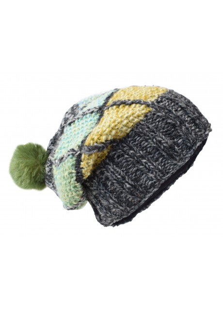 Patch Pom Pom Charcoal Tiedye Woolly Hat