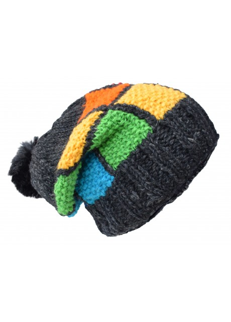 Patch Pom Pom Charcoal Colorful Wooly Hat