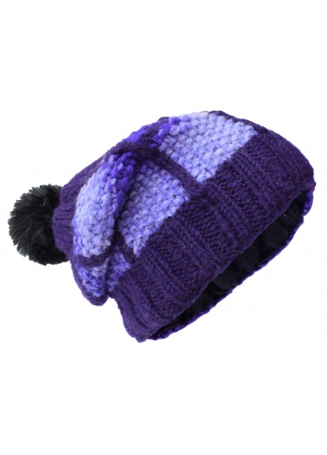 Patch Pom Pom Purple Woolly Hat