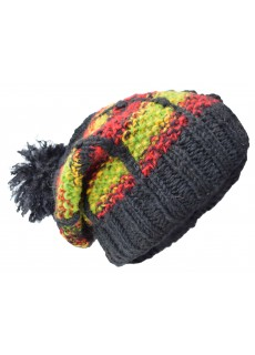 Patch Pom Pom Black Green Woolly Hat