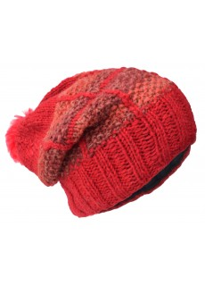 Patch Pom Pom Red Woolly Hat