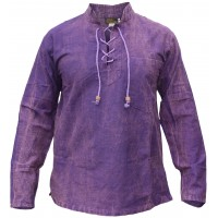 Hemp Cotton Lace Up V Neck Grandad Stonewashed Shirt Purple