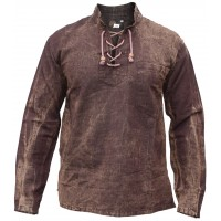 Hemp Cotton Lace Up V Neck Grandad Shirt Brown