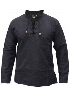 Hemp Cotton Lace Up V Neck Grandad Shirt Black