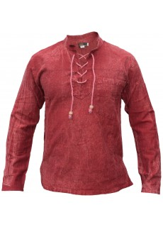 Hemp Cotton Lace Up V Neck Grandad Shirt Maroon