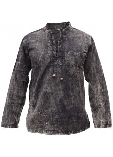 Hemp Cotton Lace Up V Neck Grandad Stonewashed Shirt Black