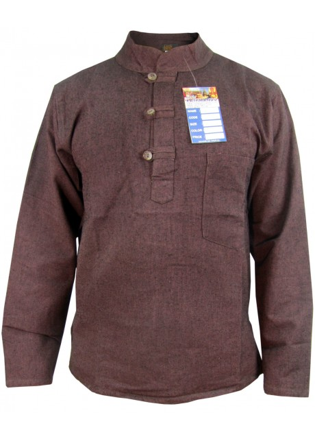 Brown Hemp Grandad Shirt
