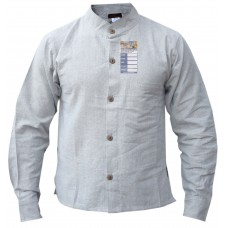 Hemp Natural Full Button Grandad Shirt