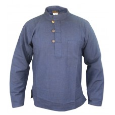 Navy Blue Hemp Grandad Shirt