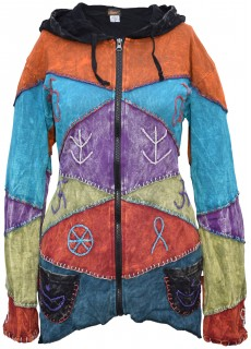 Womens Patch Stitched Embroidery Asymmetric Hoodie