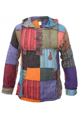 Mens Pixie Patchwork Long Hoodie
