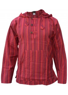 Striped Grandad Hoodie Red
