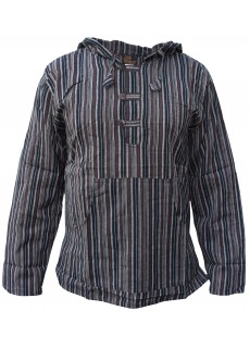 Striped Grandad Hoodie Brown