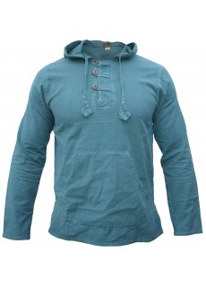 Enzyme Washed Classic Hoody Blue