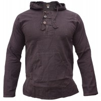 Enzyme Washed Classic Hoody Brown