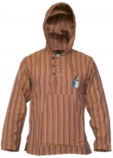 Striped Grandad Hoodie Orange