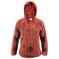 Red Stonewashed Grandad Hoody