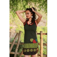 Green Circle Embroidery Dress