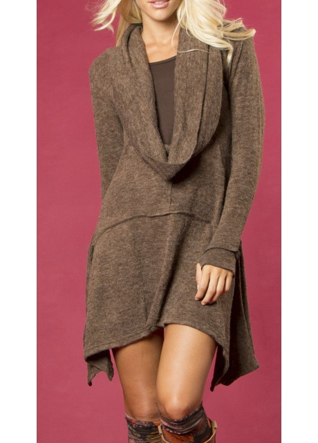 Brown Asymmetrical Winter Dress