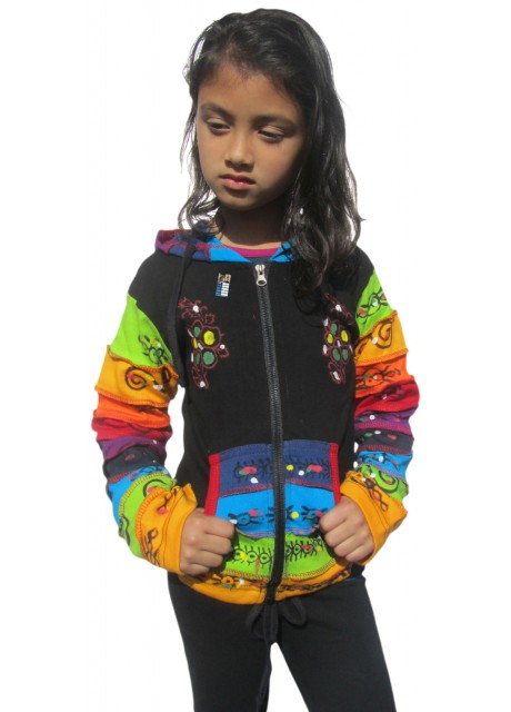 Kids Black Plain Flower Ribs Hoody