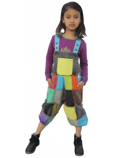 Kids Drop Crutch Harem Patchwork Dungaree