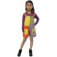 Kids Patchwork Dungaree Shorts