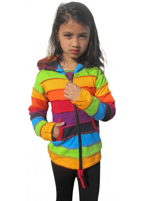 Kids Rainbow Stripey Ribs Hoody