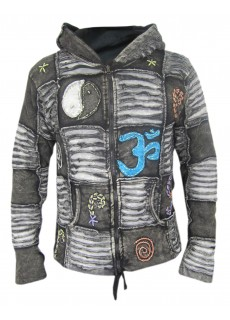 OM Black Mens Ribs Hoody