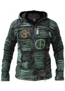 OM Green Mens Ribs Hoody