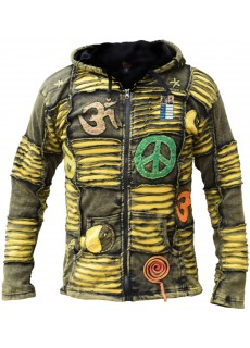 OM Yellow Mens Ribs Hoody