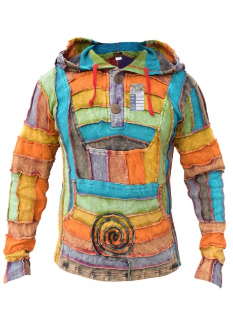 Rainbow Stonewashed Mens Ribs Pullover