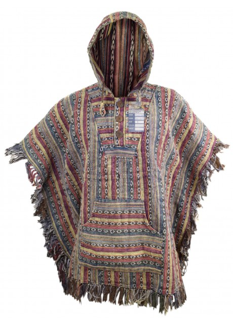 Blue Red Mix Poncho