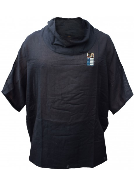 Plain Black Cotton Poncho