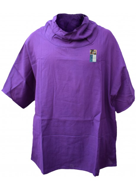 Plain Purple Cotton Poncho