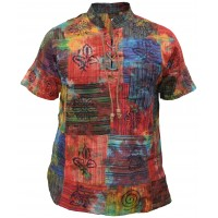 Cotton Lace Up Patchwork Tie Dye Drawstring Grandad Short Sleeve T-Shirt