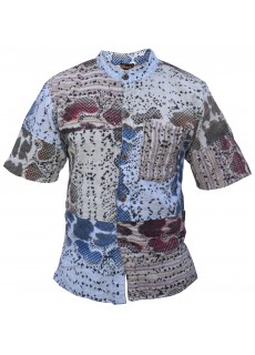 Snake Print Patchwork Cotton Half Sleeve Shirt