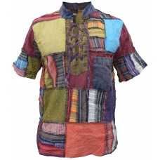 Overlock Patchwork Lace Up Cotton Grandad Half Sleeve Shirt