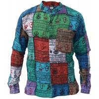 Patchwork Om Grandad Full Button Shirt