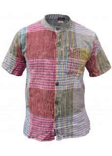 Block Check Cotton Grandad Half Sleeve Shirt
