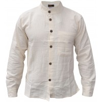 Plain Cream Grid Textured Grandad Shirt