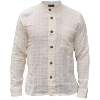 Plain Cream Check Textured Grandad Shirt