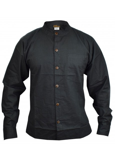Black Full Button Linen Cotton Shirt