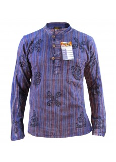 Purple Stonewashed Grandad Shirt