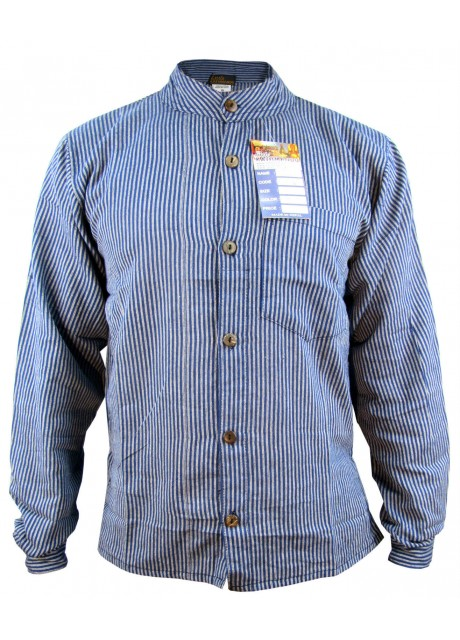 Blue Full Button Collarless Shirt