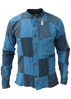 Pin Stripe Blue Black Patchwork Button Down Shirt