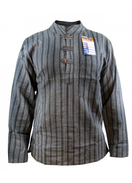 Black Striped Grandad Shirt