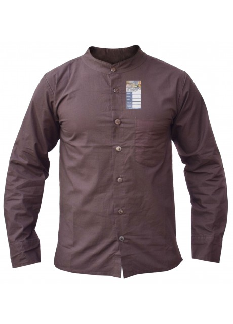 Brown Full Button Linen Cotton Shirt